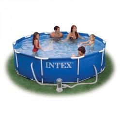 Vízforgatós medence, fémvázas, 305 × 76 cm medence takaróval Medence Intex