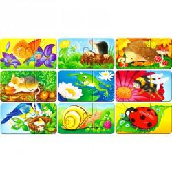 Puzzle 9x2 db - Állatok a kertben Ravensburger Puzzle Ravensburger