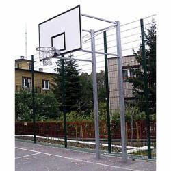 Kosárállvány, kültéri, lebetonozható, 1,65 m benyúlással, 2 oszlopon áll Sportszer Drenco