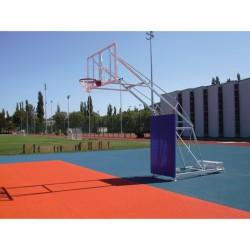 Kosárállvány, 1,5 m benyúlással gurítható, tüzihorganyzott, ellensúlyos Sportszer Drenco