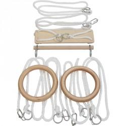 Tornakészlet IV. (hinta, nyújtó, felnőtt gyűrűkarika, 3 pár gyűrűs kötél) Sportszer