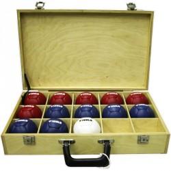 Boccia szett doboz nélkül, Winner 6 kék+6 piros+1 fehér bőrlabda Sportszer Winner