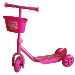 Háromkerekű roller rózsaszín kosárral 3 kerekű roller Spartan