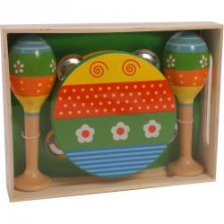 Fa csörgődob és marakas nagy Ütős zenélő játékok
