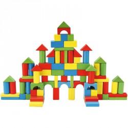 Fa építőkocka, 100 db/doboz Építőjátékok 4M