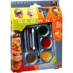 Clowny - arcfestő 3 ceruza és 4 korong Smink készletek