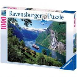 Puzzle 1000 db - Norvég fjordok Ravensburger Puzzle Ravensburger