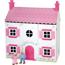 Rózsaszín fa házikó Babaház