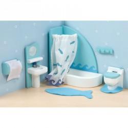 Fa fürdőszoba bababútor szett Babaház