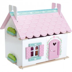 Lily háza fa bútorral 35x42x44cm Babaház