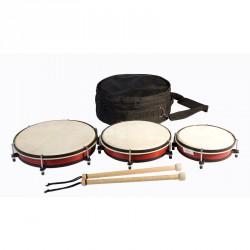 Háromdarabos dobkészlet, táskával Hangszerek Amaya