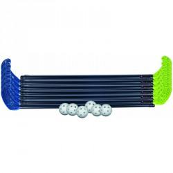 Floorball készlet műanyag 85 cm 2x6 ütő, 6 labda Sportszer Victor