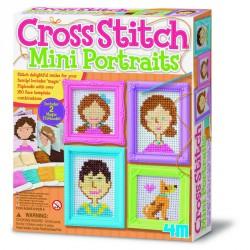 Keresztszemes hímzés mini portrék 4M Kreatív készletek 4M