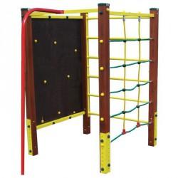 Négyszögletű mászótorony, tűzoltórúddal és hatfokú mászókával Játszótéri eszközök