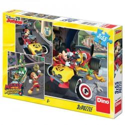 Puzzle Mikiegér autóverseny 3 x 55 darab Puzzle Dino