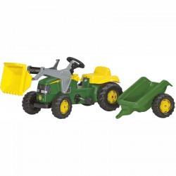 Pedálos markolós traktor utánfutóval Rolly Kid John Deere Pedálos járművek Rolly Toys