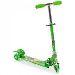 Háromkerekű roller világító, zöld 3 kerekű roller