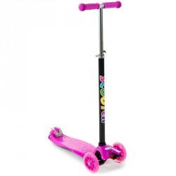 Háromkerekű roller Maxi világító rózsaszín 3 kerekű roller
