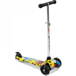 Háromkerekű roller mintás sárga-fehér 3 kerekű roller