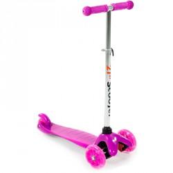 Háromkerekű roller világító rózsaszín-fehér 3 kerekű roller